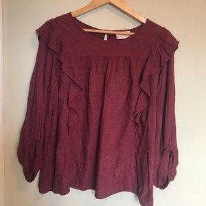 Burgundy Pullover Blouse Size XL